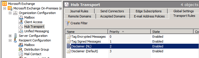 Setting up Disclaimers in Exchange 2010 SP1 | EighTwOne (821)