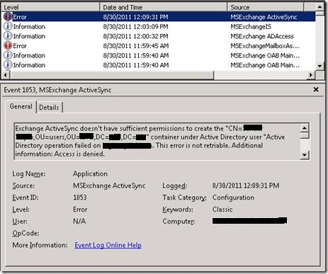 descendant msexchactivesyncdevices