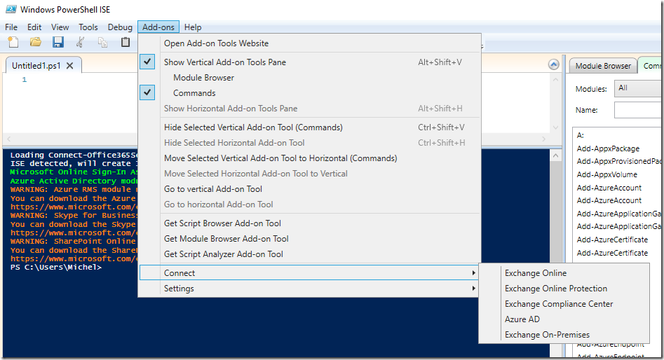 msol services module for windows power shell ise